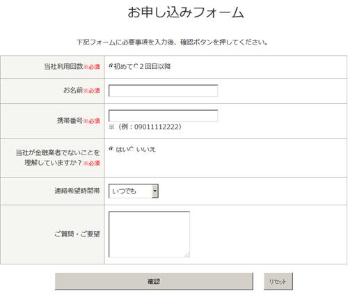 あんしんクレジットの申し込みフォーム
