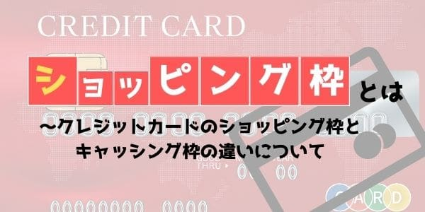 ショッピング枠とは~クレジットカードのショッピング枠とキャッシング枠の違いについて