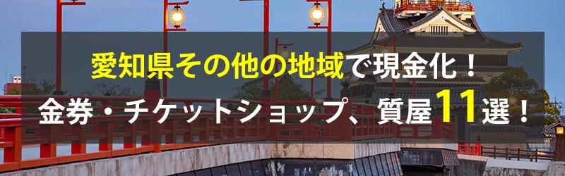 愛知県その他の地域で現金化!愛知県その他の地域の金券・チケットショップ、質屋11選!