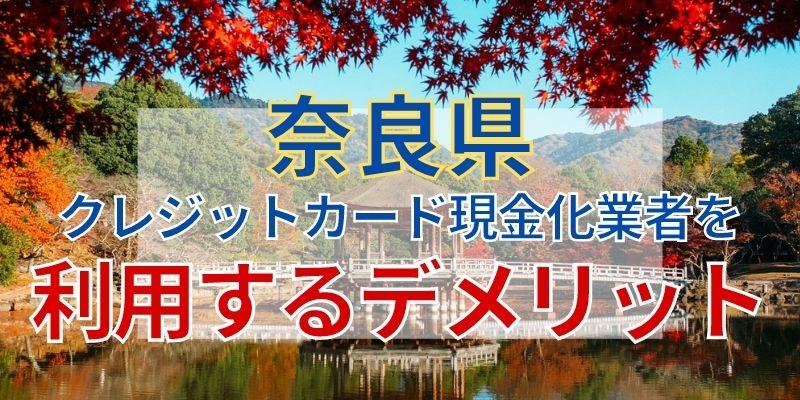 奈良県のクレジットカード現金化業者を利用するデメリット
